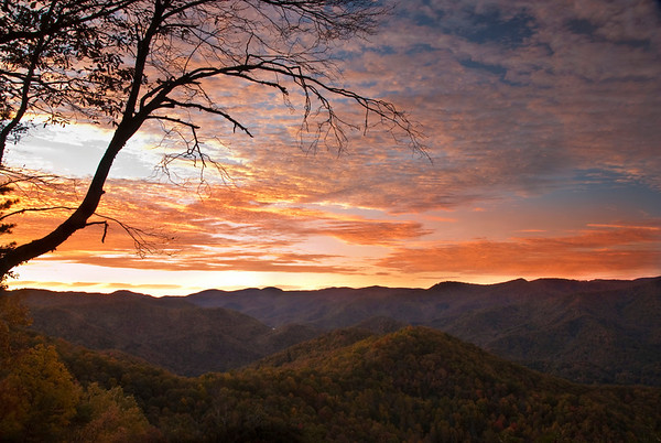 Sunrise from Double Top Mountain near Sylva, North Carolina