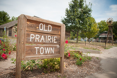 Entrance to Old Prairie Town, a short street of 19th century buildings that have been melded into a little town.