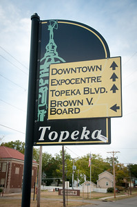 One of the many tourist signs around Topeka signaling the different attractions.