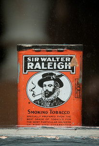 Old tobacco tin inside old barber shop, Old Prairie Town