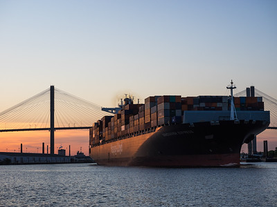 Outbound container ship - Savannah