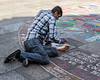 Street artist at the Cologne Cathedral.
