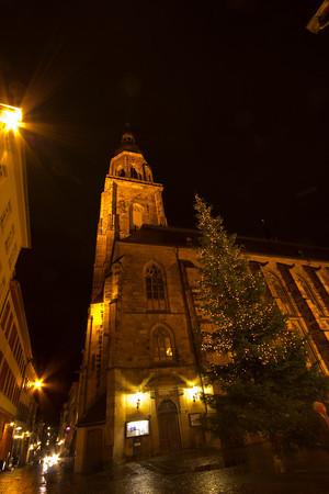 Germany, Heidelburg, Church at Night SNM