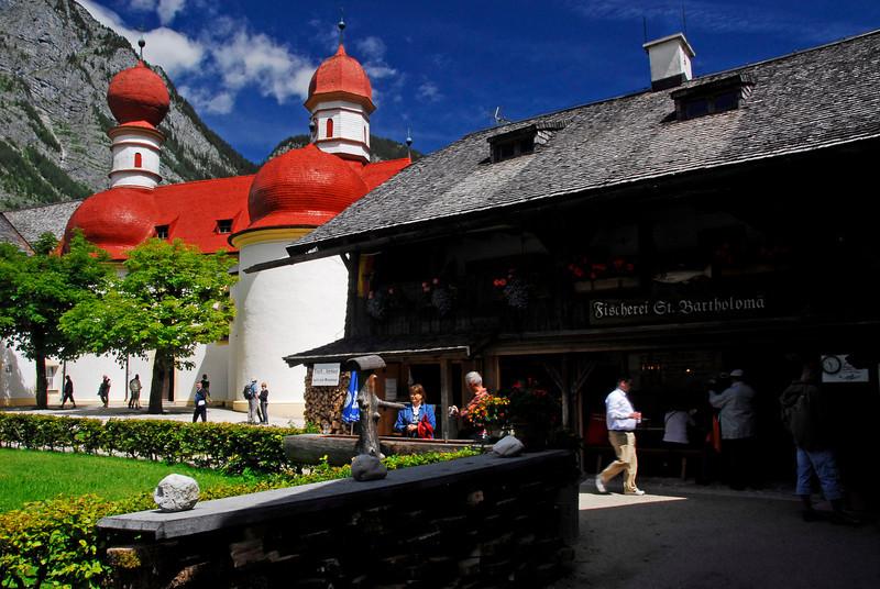 Fish restaurant at St. Bartholomews Church - Konigssee, Germany
