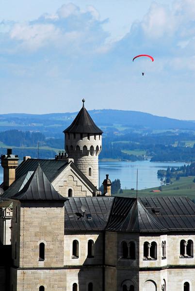 Paraglider and Neuschwanstein Castle, Germany