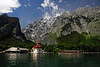Cruise boat arriving at St. Bartholomew Church - Konigssee, Germany