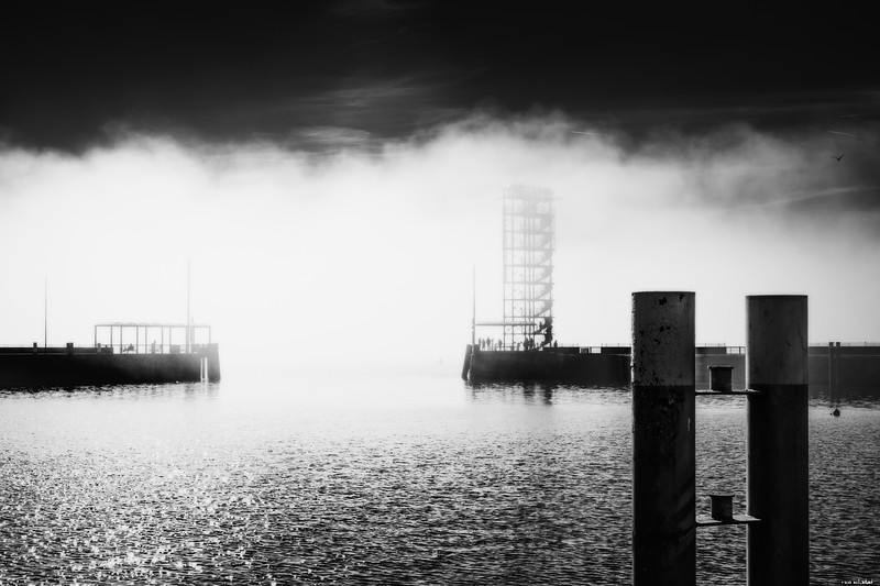 Foggy port entrance