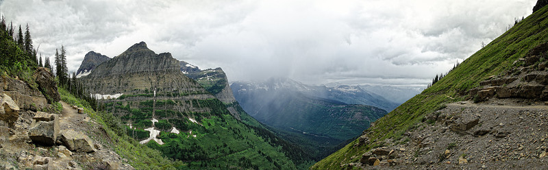 A Pano of a Storm in Glacier National Park, MontanaBy: James A. B.  I don't do Panorama's that often, but sometimes you just can't gather all the beauty in just one frame of the camera.  So there's only one thing left to do, stitch a Pano in photoshop.  So that's what I did here to attempt to image the essence of the park on this particular day.***Note: This is a Panorama Photo so Buyers Beware if purchasing, purchase the Panorama Options to get the full huge effect of Panoramic Imaging!  Thanks!  - Read More on my Photo Blog: Raining Dreams- Or if you're Facebook Happy: My Facebook Page- Or if you're Google Savvy: My Google+ Page