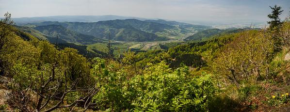 """Panorama von der """"Thomashütte"""" auf 1.070 m in das Glottertal / Panorama from """"Thomas Cottage"""" on 1.070 m into the Glotter Valley"""