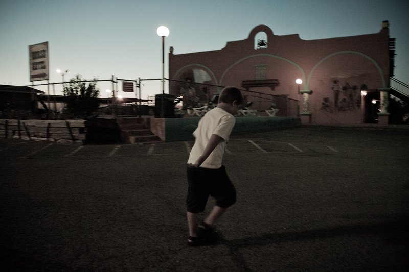 Vincent running around outside The Big Texan in Amarillo, Texas
