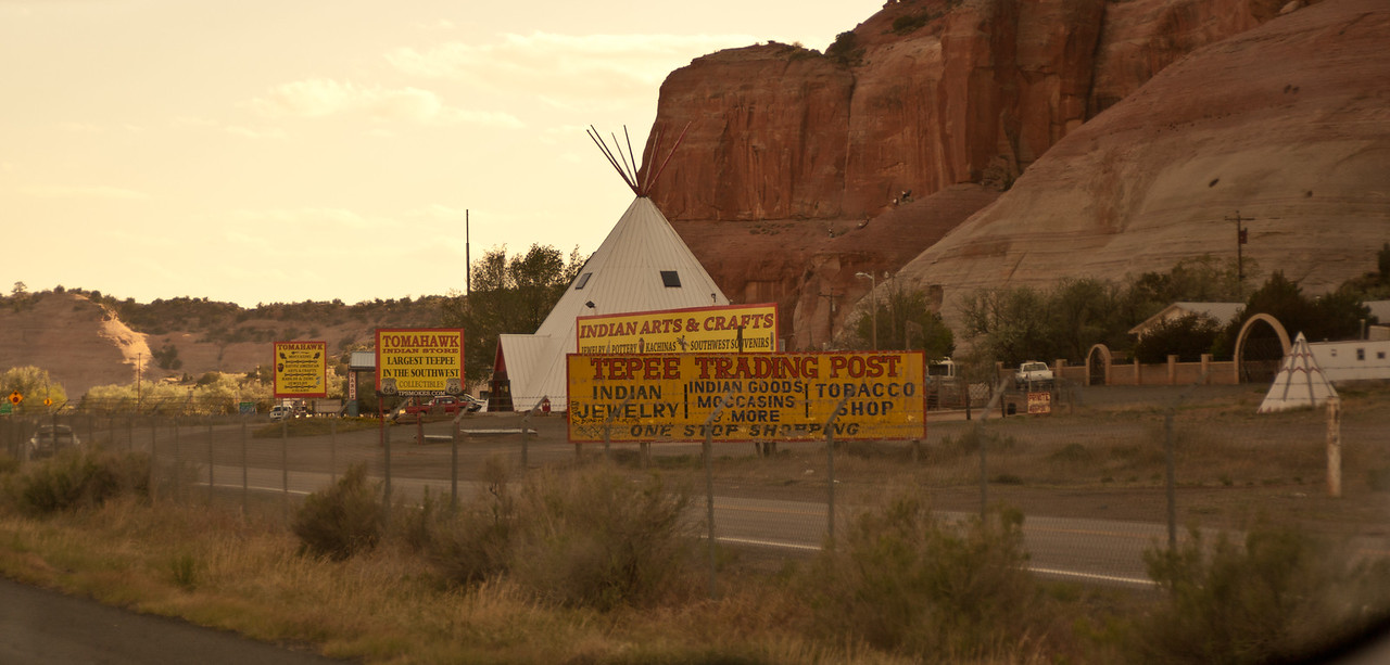 Tepee Trading Post. Tomahakw Indian Store / Largest Teepee in the southwest.