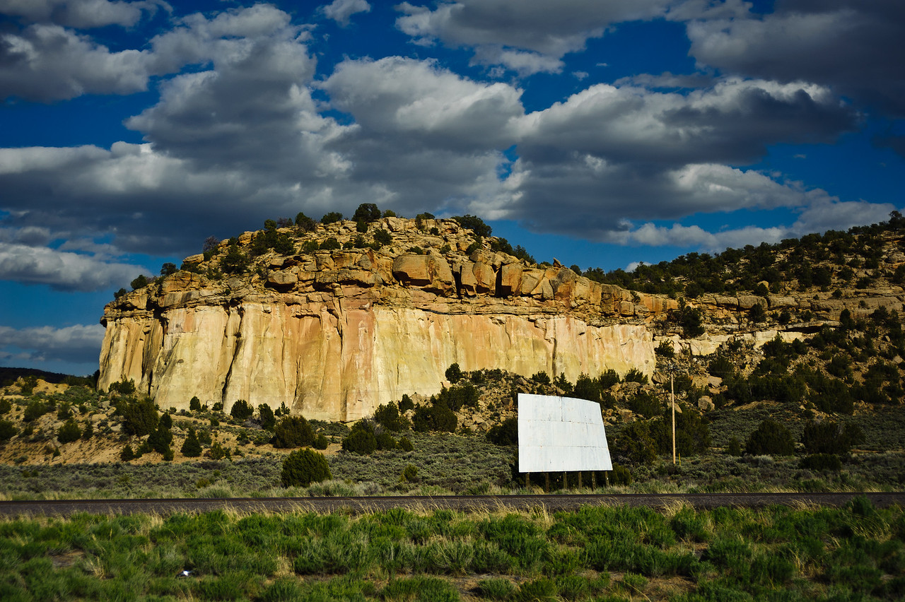 Much of the drive through New Mexico and Arizona was through seemingly endless stretches of beautiful rock formations on both sides of the highway.  The sign says nothing.