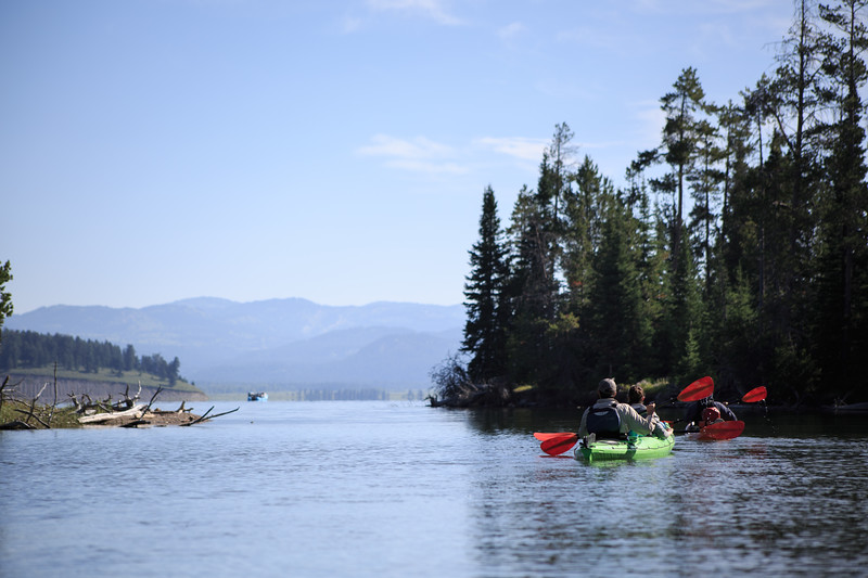 Chris and Cassidy paddle out of the cove after watching otters and other wildlife on a serene morning.