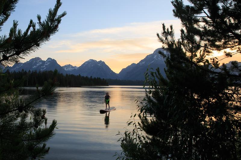 Cassidy enjoying a sunset paddle on the SUP.