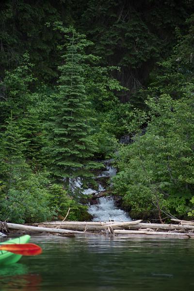 Snowmelt falls into Moran Bay.