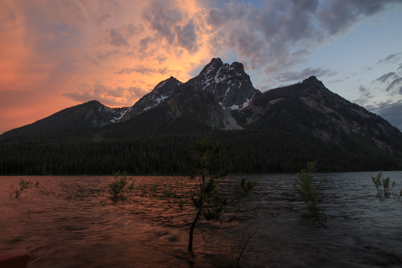 Bivouac Peak splits the sunset into hot and cold.