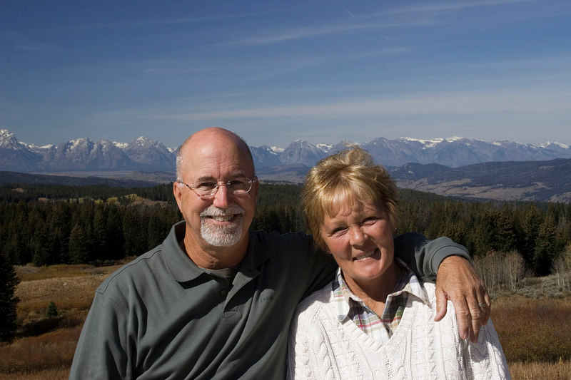 Rebecca and I with the Tetons in the background (shot from the overlook on the Wyoming Senic Hwy.)