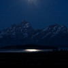 Moon rays reflecting off Jackson Lake, Grand Teton National Park