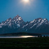 Moon rays, Grand Teton National Park