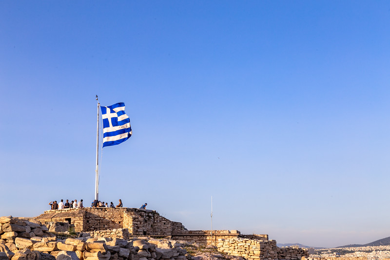 Greek flag flying on top of the Acropolis, Greece