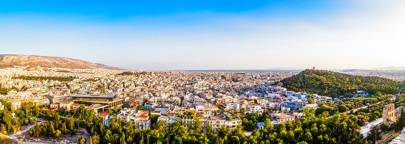 View of Athens on top of the Acropolis, Athens, Greece