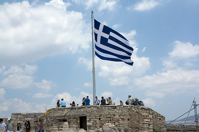 Greek Flag flying over Acropolis