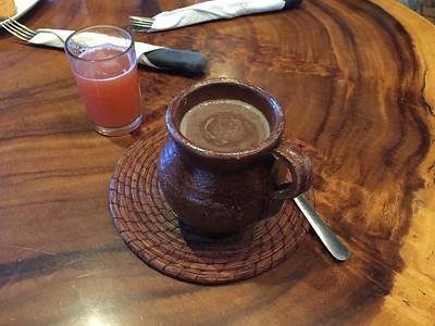 Guatemalan hot chocolate and papaya juice