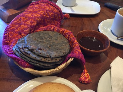 Blue corn tortillas and frijole sauce