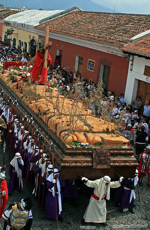 Large 'float' being carried by volunteers, Antigua, Guatemala.