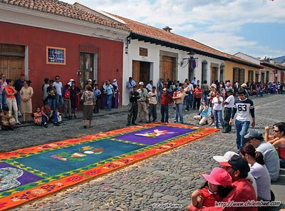 A prepared carpet waiting for the procession during semana Santa (Holy Week) , Antigua, Guatemala.