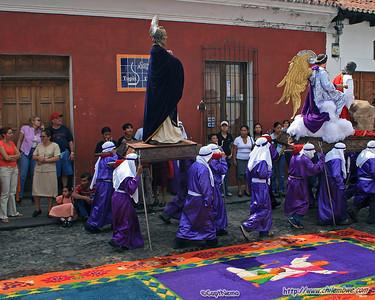 A prepared carpet waiting for the procession, Antigua, Guatemala.