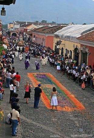 Carpet after main procession has passed during semana Santa (Holy Week) , Antigua, Guatemala.