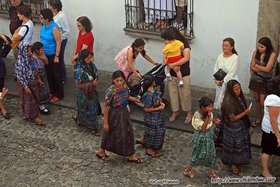 Women wearing traditional Maya traje, Antigua, Guatemala.