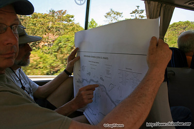 Pete and Bob peruse the map. Candelaria lodge and Cave system. Guatemala
