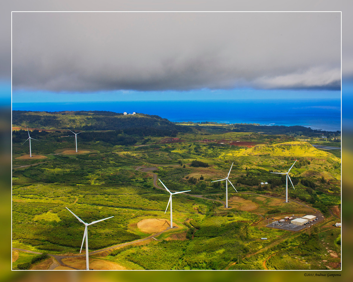 The Kahuku wind farm and the Opana Radar Station on the bluffs above Turtle Bay.  The Opana Radar site is where the first operational radar trucks sat on 7 December 1941 that detected the flight of Japanese fighters and bombers that signaled the beginning of the attack on Pearl Harbor.  The flight was detected and reported, but instead, believed to be a flight of Army B-17 Flying Fortress bombers scheduled to arrive at that morning and therefore ignored.
