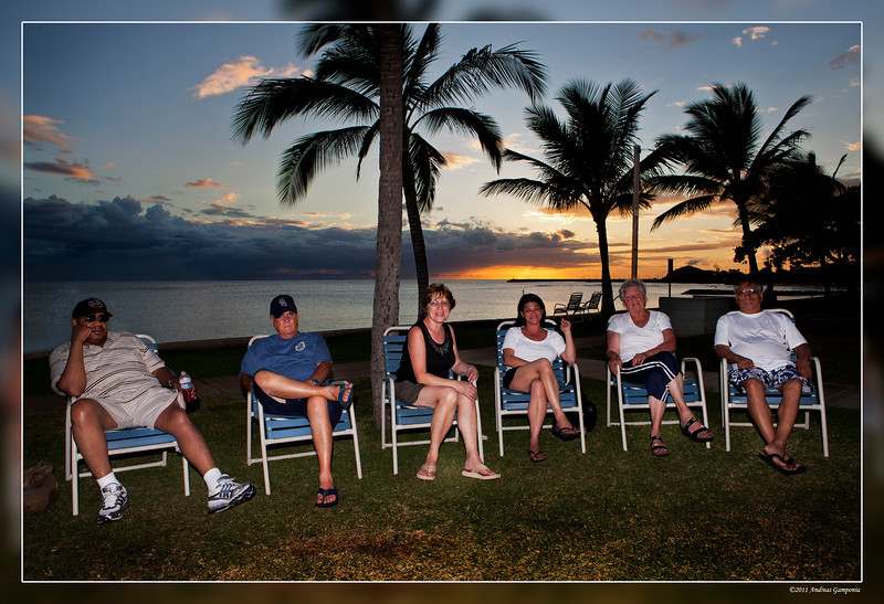 Atypical evening gathering to discuss life in the tropics and how strenuous the next day on the beach might become...