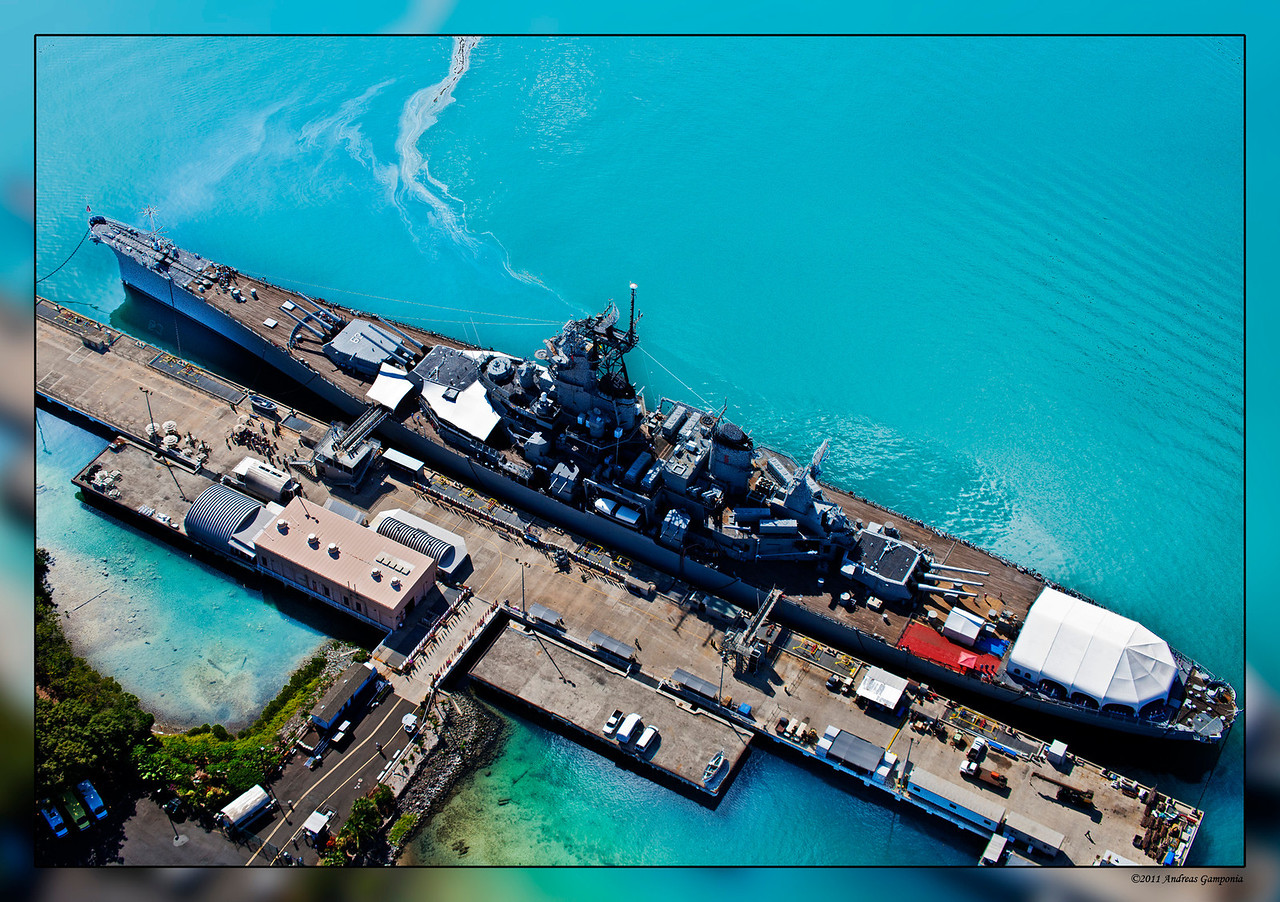The Battleship Missouri where the surrender of the Japanese Fleet took place.  She is now docked at her berth at Ford Island in Pearl Harbor.