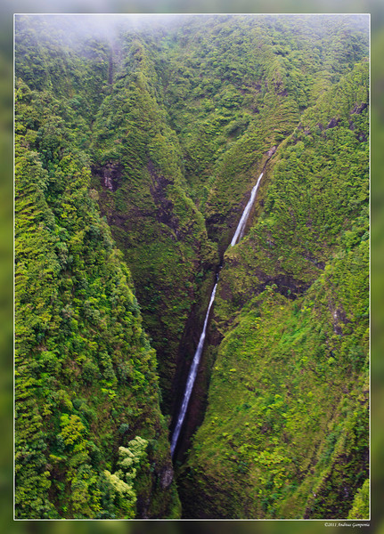 Sacred Falls.  This is just a magnificent view and since the State of Hawaii has closed the park to hikers due to the steep and treacherous hike to see the falls from the ground, this beautiful sight is only seen by visitors taking a helicopter tour.   In past years, several hikers were killed in attempting the difficult hike to the falls.
