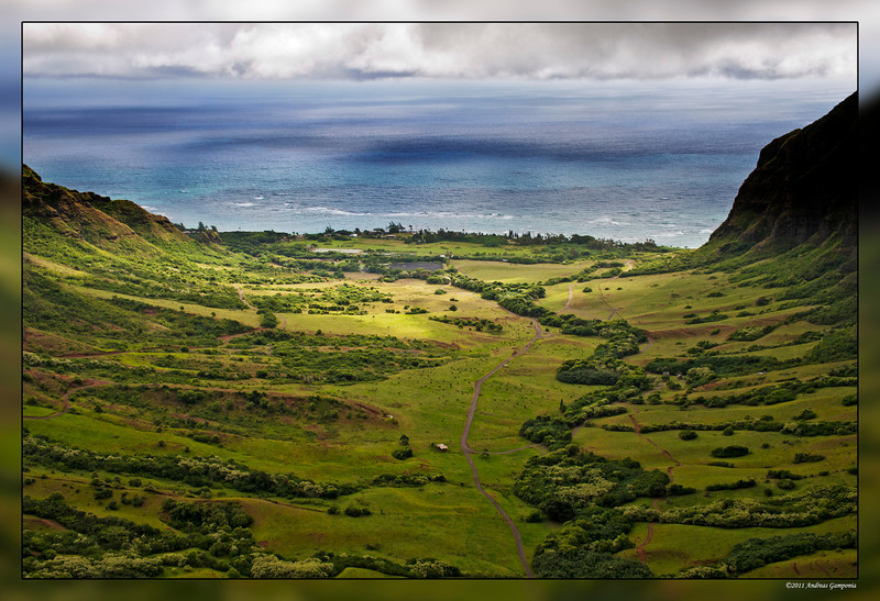 "Kahana Valley on the eastern side of Oahu.  The image you would have seen is from the ground and leading in towards the mountains into the valley in the movie ""Jurassic Park""."