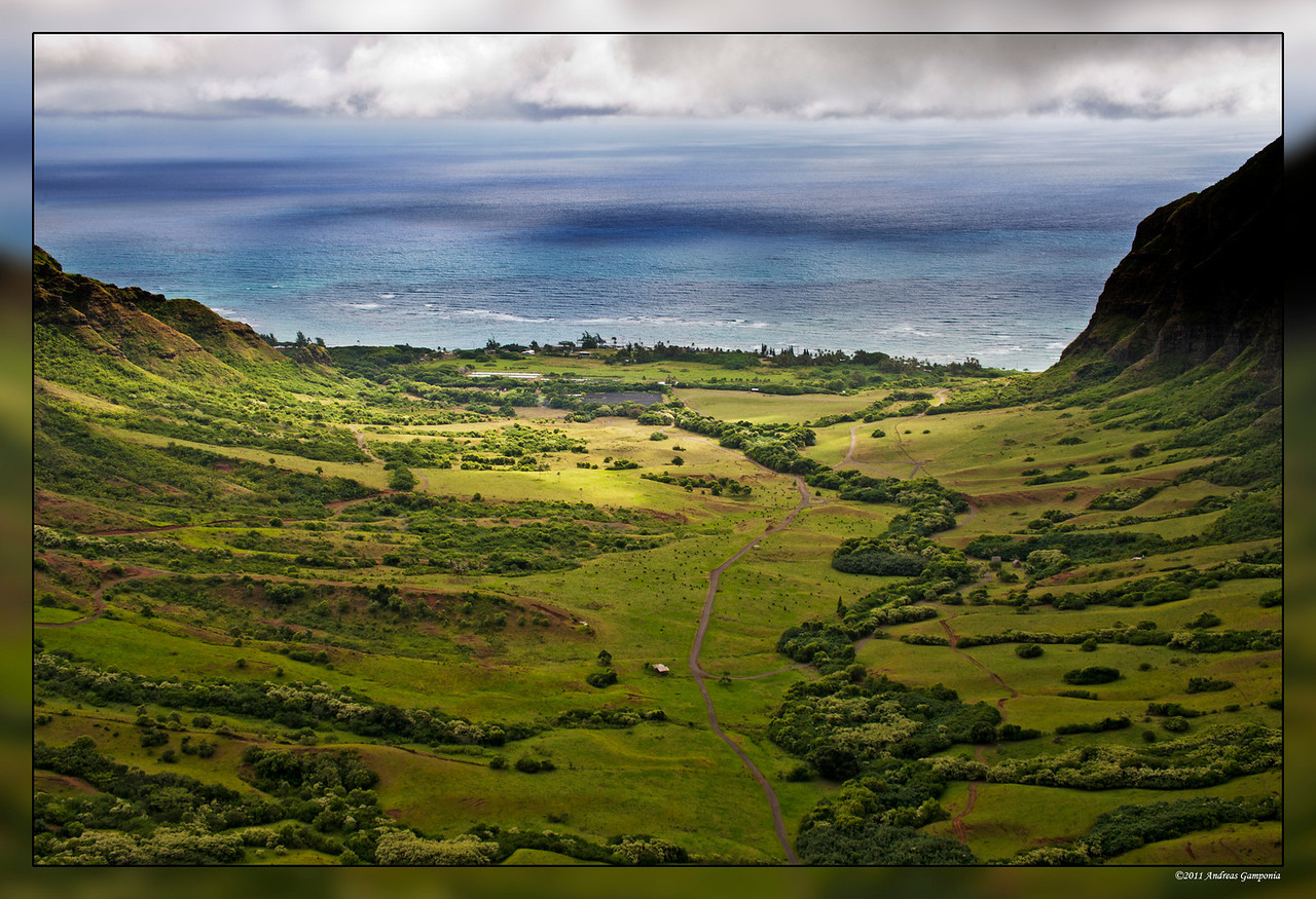 """Kahana Valley on the eastern side of Oahu.  The image you would have seen is from the ground and leading in towards the mountains into the valley in the movie """"Jurassic Park""""."""