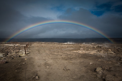 Rainbow over Kilauea crater