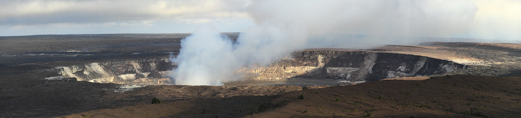 Panorama of the middle of the three nested craters on Kilauea Volcano, Hawaii.