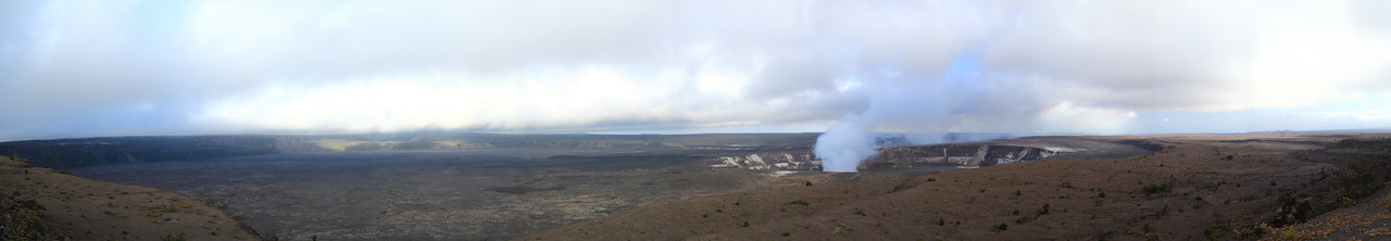 Panorama of the large crater on Kilauea Volcano.  The outer one, which spans the whole image, is almost 4km wide at its widest.  The middle one is just under 1km and the innermost one, which is emitting the smoke and contains exposed lava, is perhaps 100m.