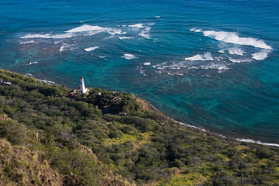 Lighthouse and ocean from Diamond Head