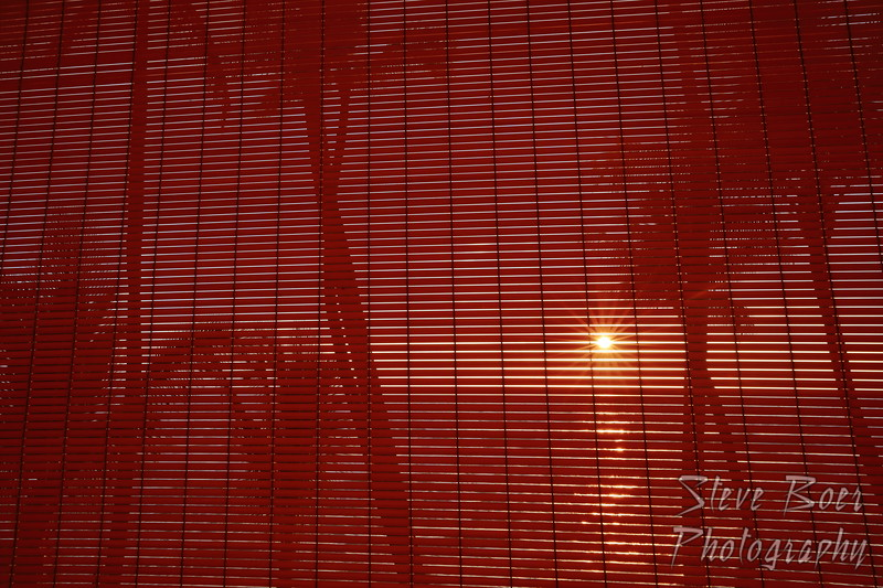 Sunset through blinds
