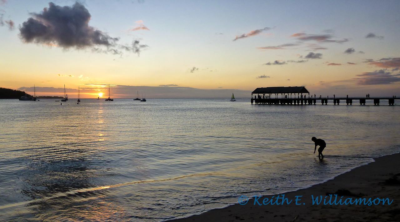 Sunset over Hanalei bay, Kauai