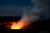 Halema`uma`u Crater - Mid View (See the next shot for a different view)<br /> This is the glow from the Lava Lake in the crater.