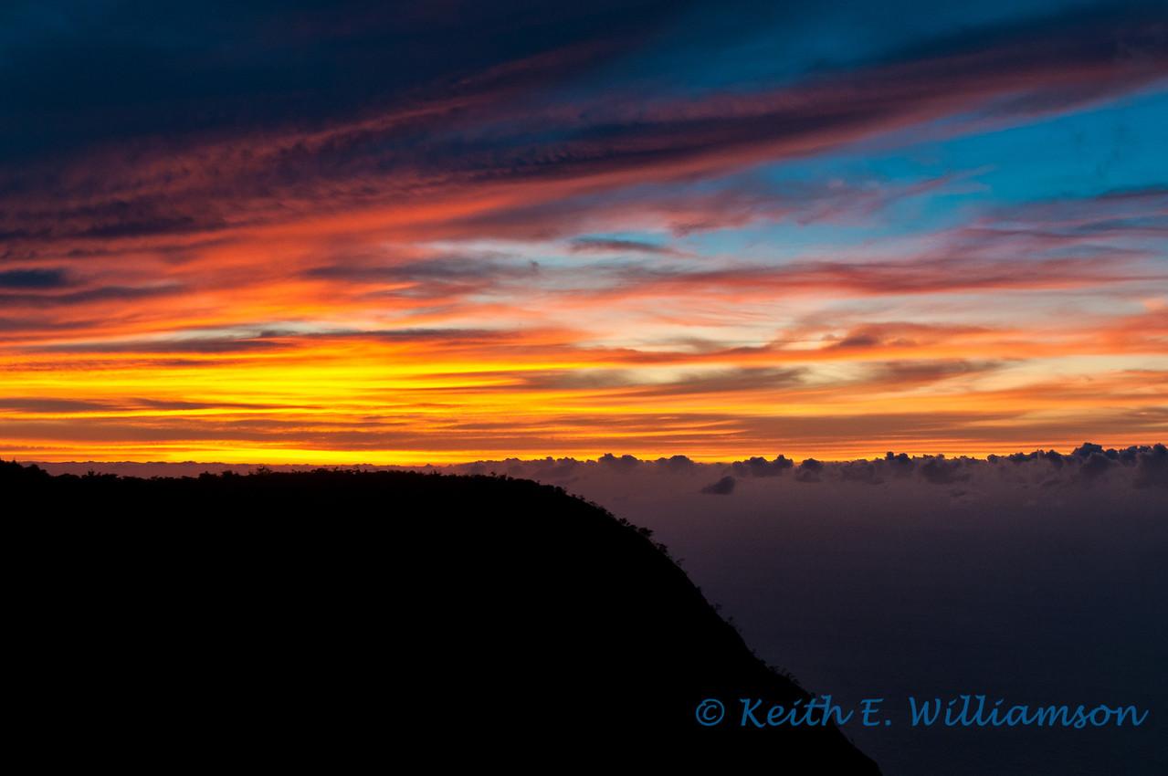 Sunset from Pu'u o Kila lookout, Kauai