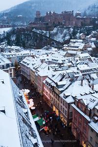 Heidelberg Castle atop and Christmas Market below