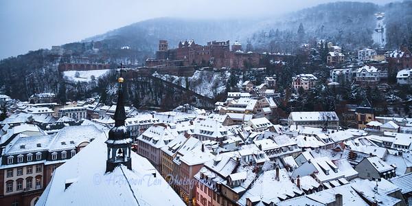 First snowfall over Heidelberg --Heidelberg Castle in background